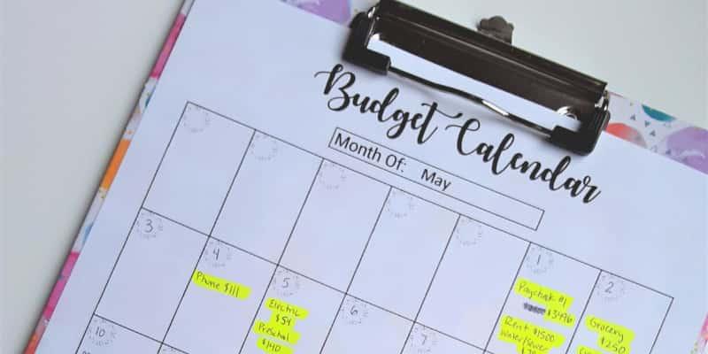 budgeting calendar