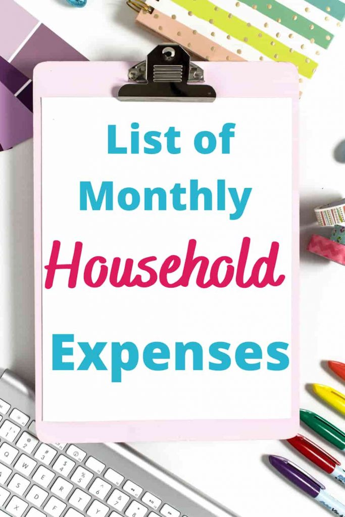 sample monthly household expenses list