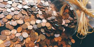 jar of spilled pennies