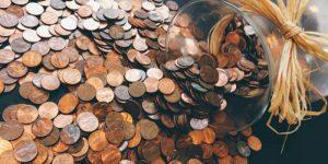 jar of spilled pennies