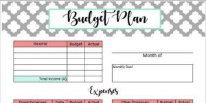 to of blank budget worksheet