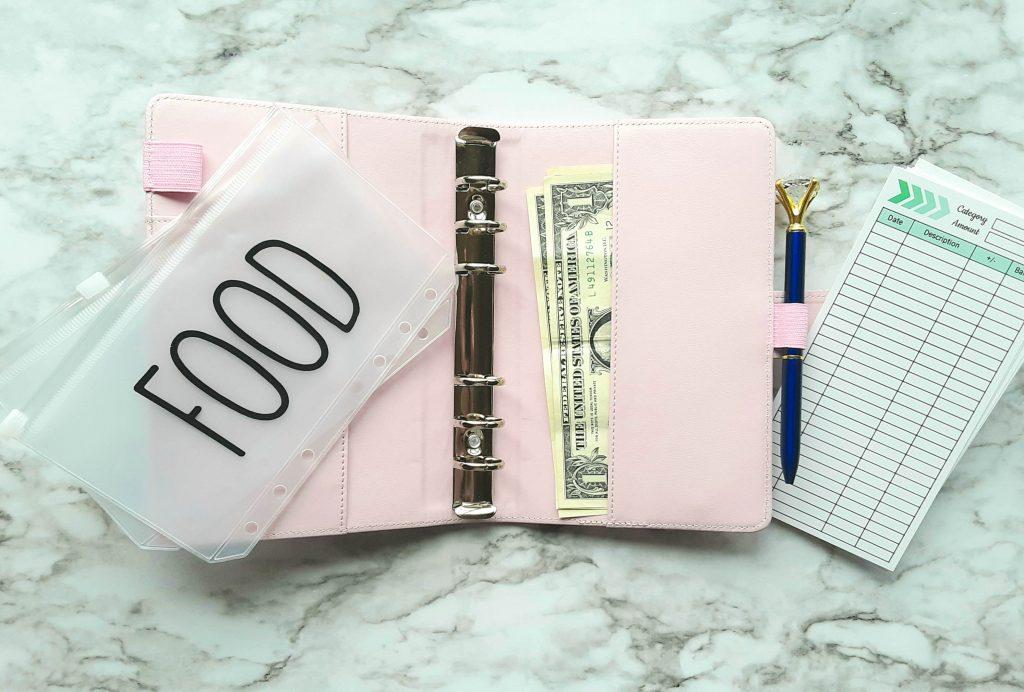food category cash envelope in wallet