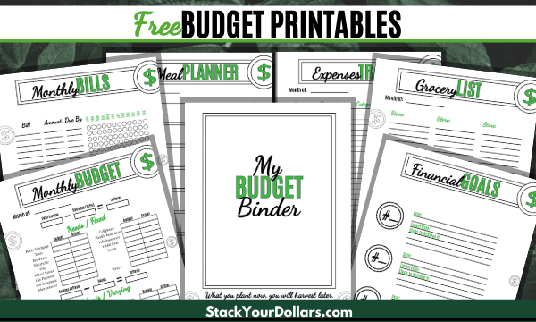 budgeting printables in green and white