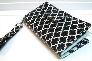 black and white quatrefoil cute cash envelope wallet