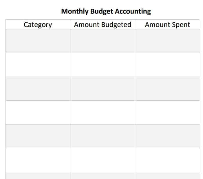 monthly budget accounting printable template