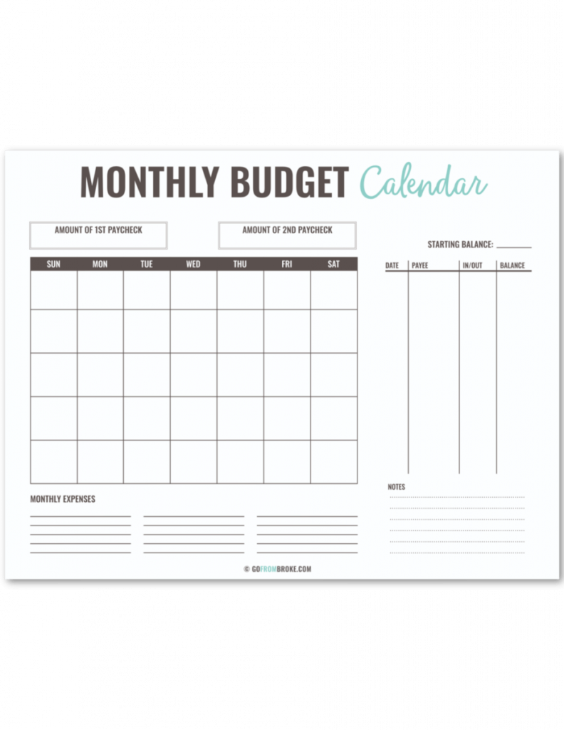 1 page monthly budget calendar